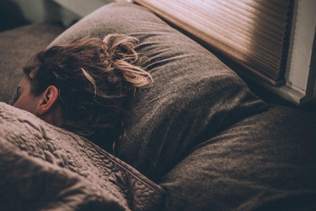 Sleeping head on pillow